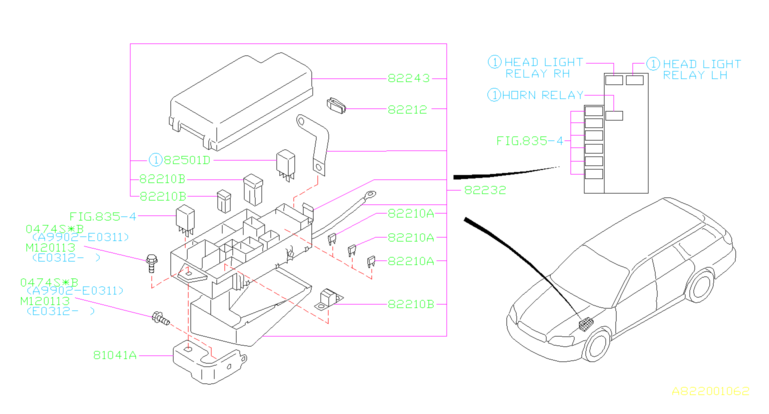 subaru legacy 3 0l at 4wd bracket complete main fuse box. Black Bedroom Furniture Sets. Home Design Ideas